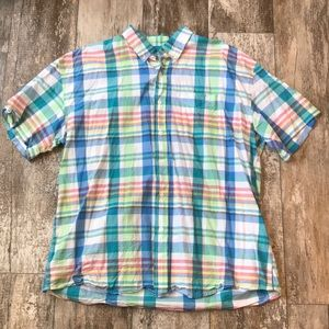SUNRIVER PLAID PASTEL BUTTON UP COLLAR SIZE XL